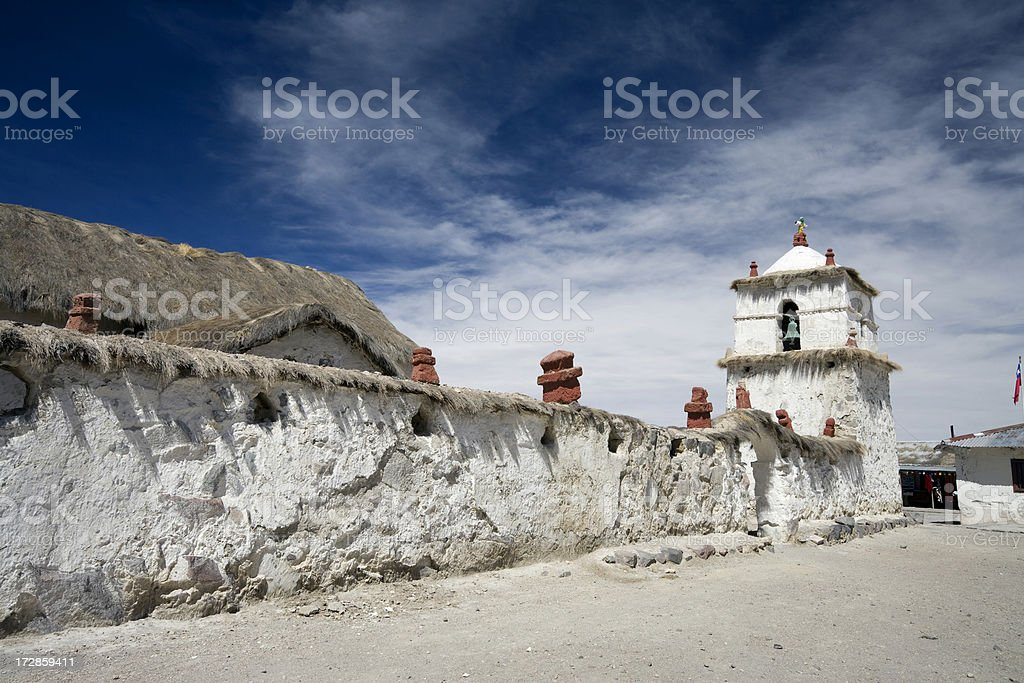 Church Tower at Parinacota in Chile stock photo