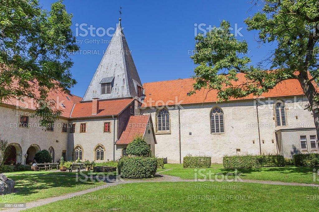 Church tower at the Malgarten monastery stock photo