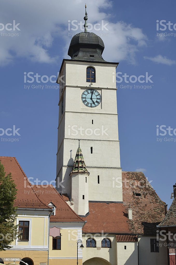 Church tower from Sibiu old city royalty-free stock photo