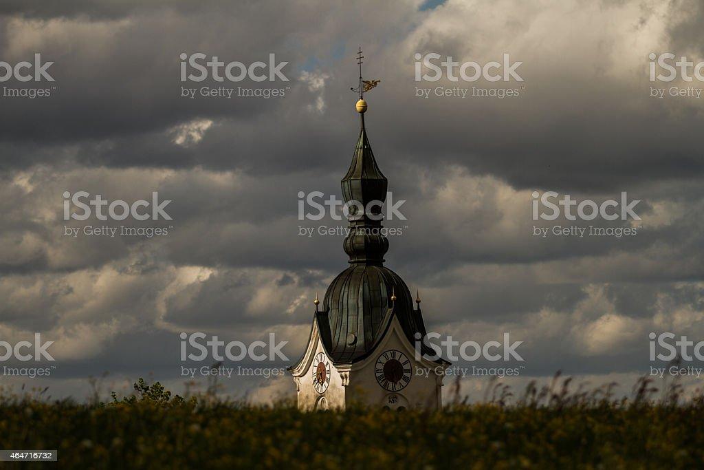 Church tower in Bayern stock photo