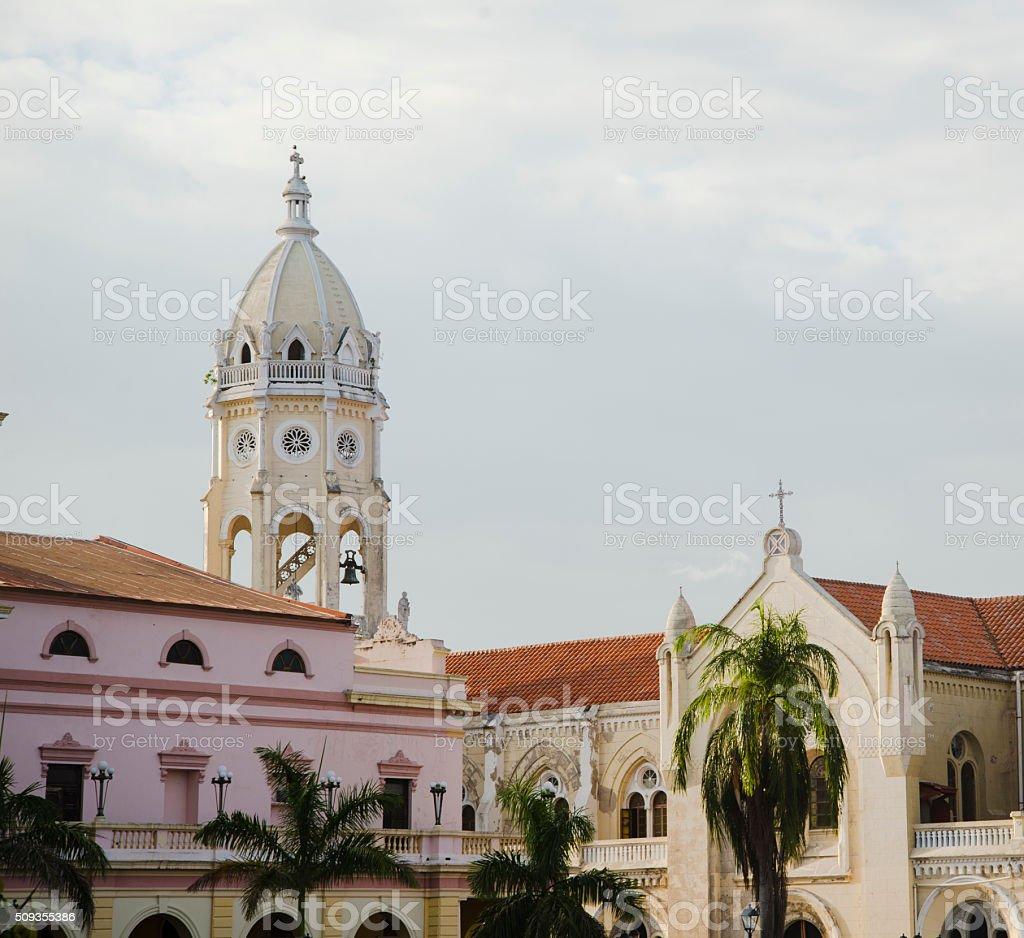 Church Tower in Casco Viejo, Panama stock photo