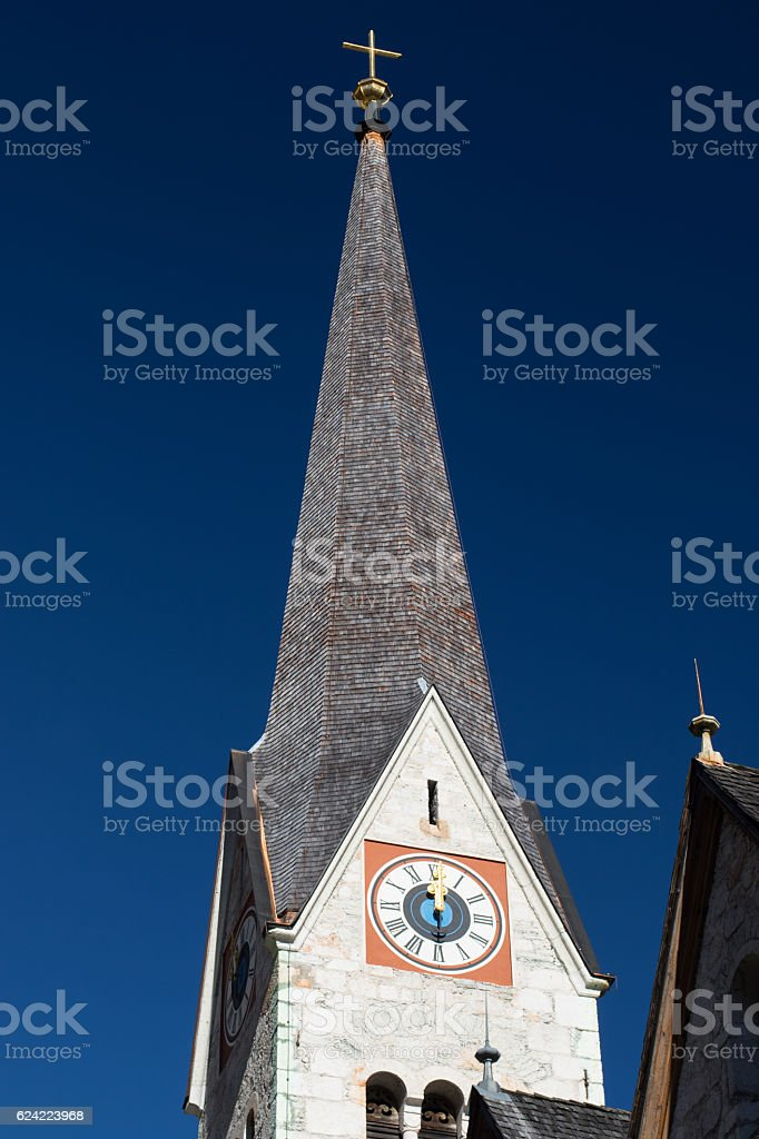 Church tower in Hallstatt, Austria stock photo