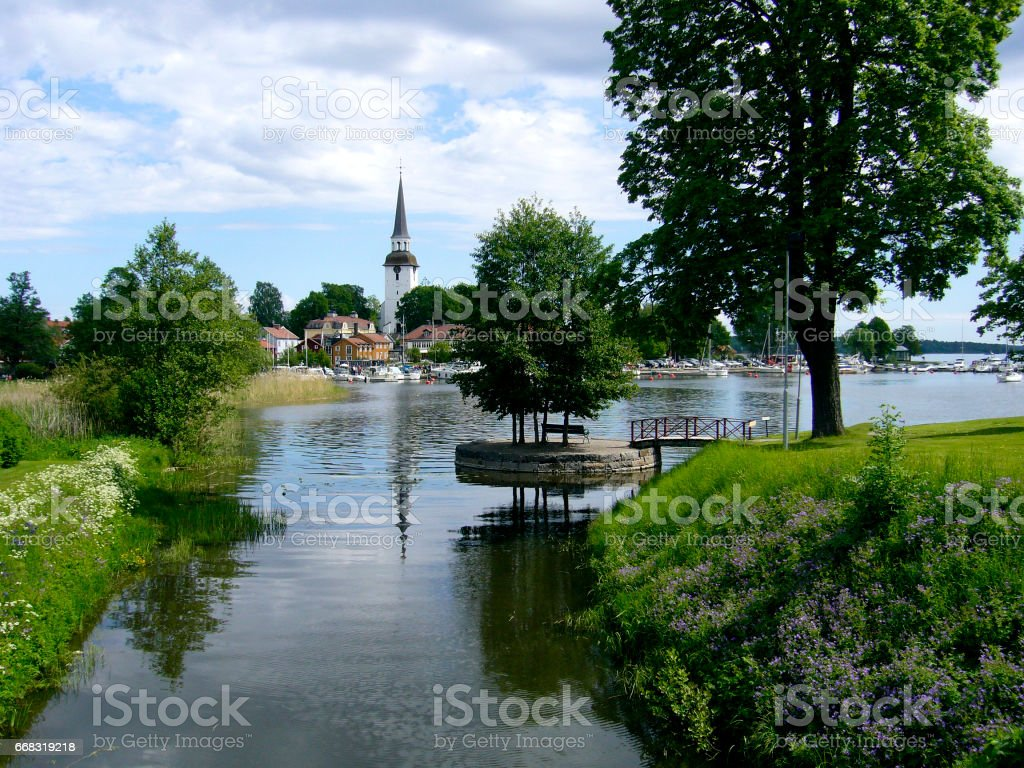 Church tower in Mariefred Carthusian monastery in Sweden stock photo