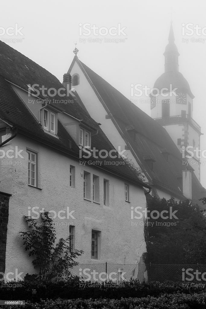 Church Tower in Morning Fog stock photo