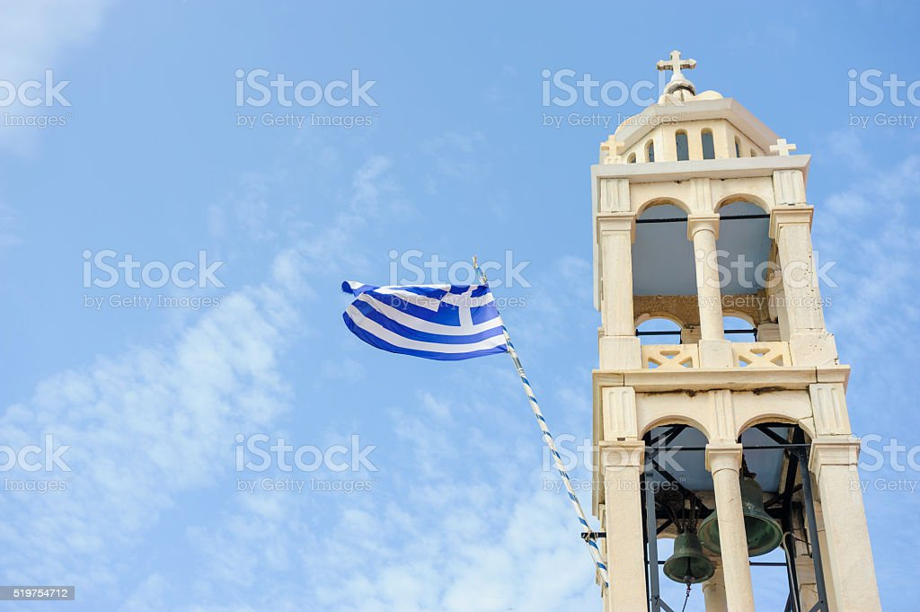 Church tower in Skiathos stock photo