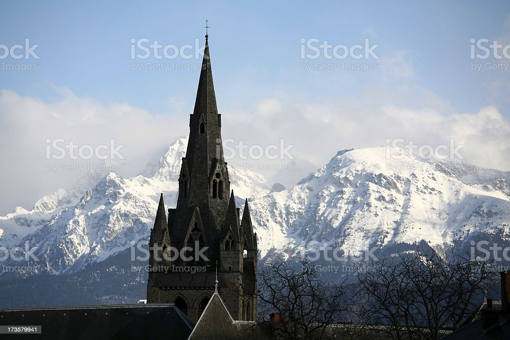 Church tower in the Alps royalty-free stock photo