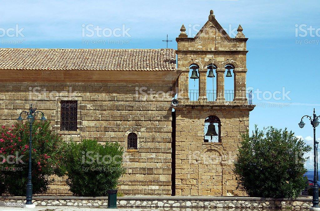 church tower in Zakynthos island royalty-free stock photo