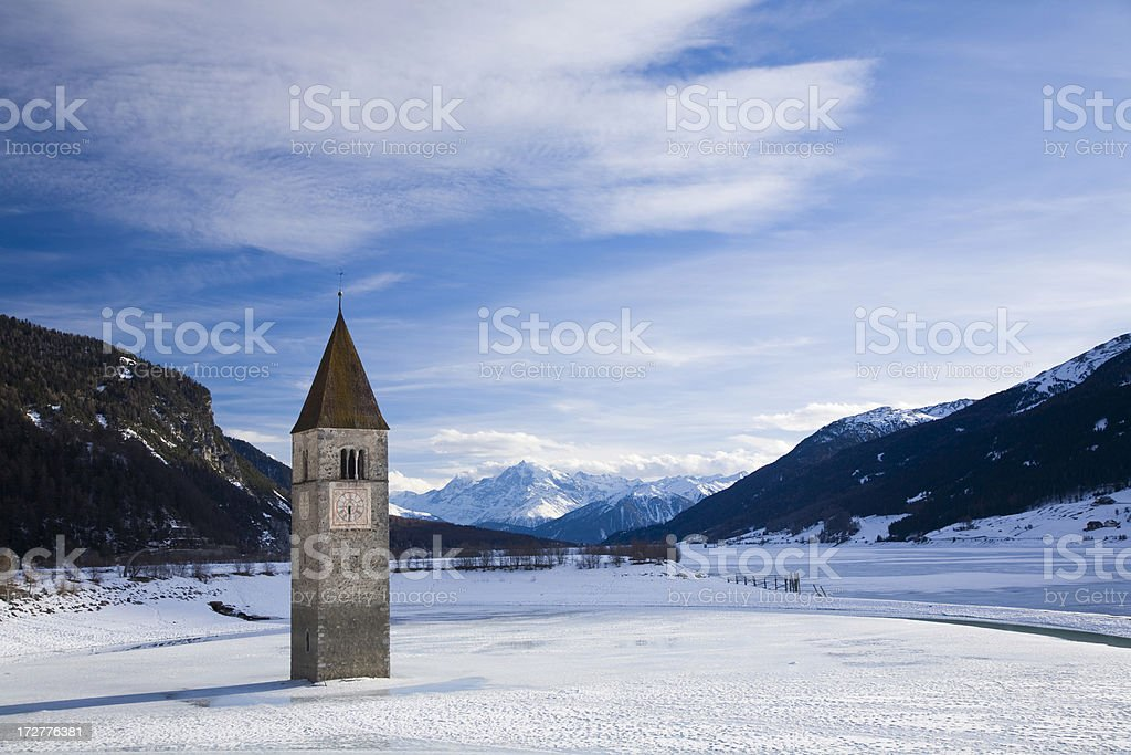 'Church Tower, Lake Resia in Italy' stock photo