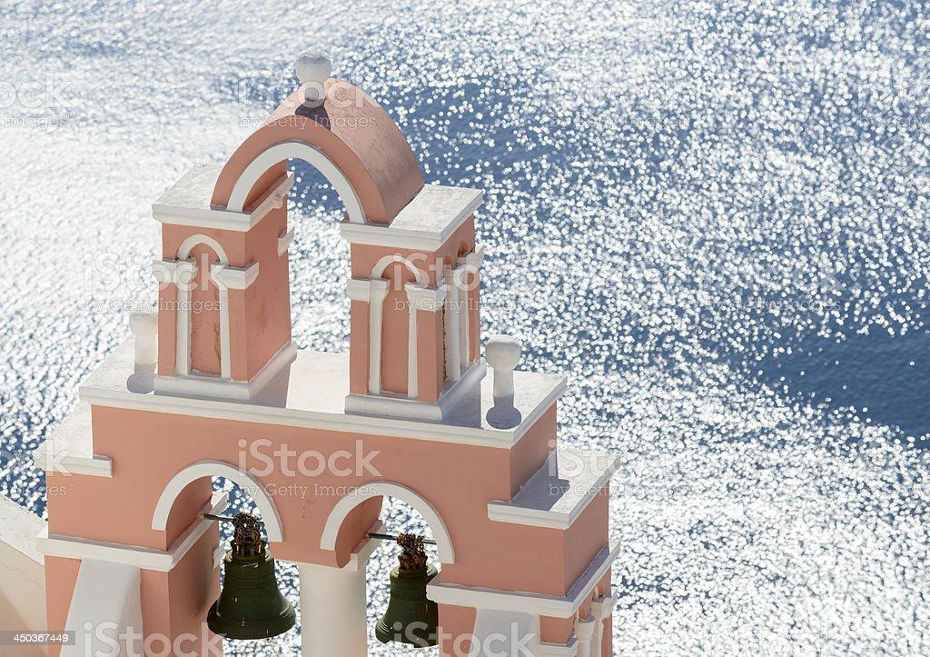 Church Tower on Santorini Island Greece royalty-free stock photo