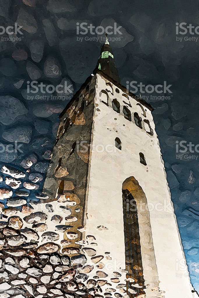 Church tower reflection on water stock photo
