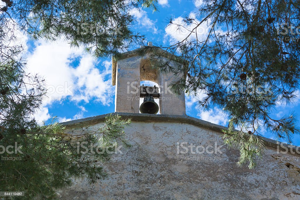 Church tower with bell stock photo