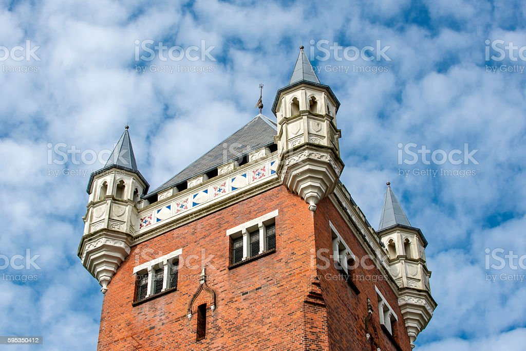 church tower with blue sky stock photo