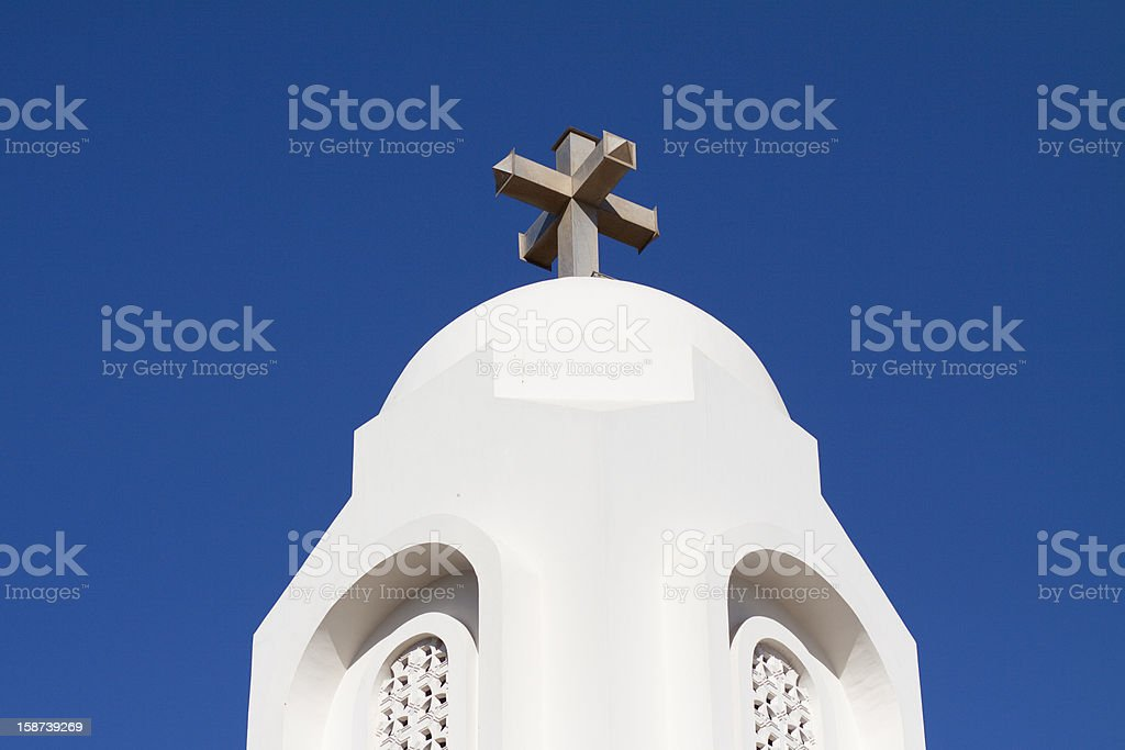 Church tower with cross stock photo