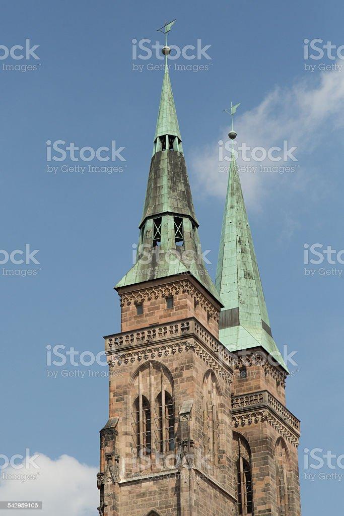 church towers stock photo
