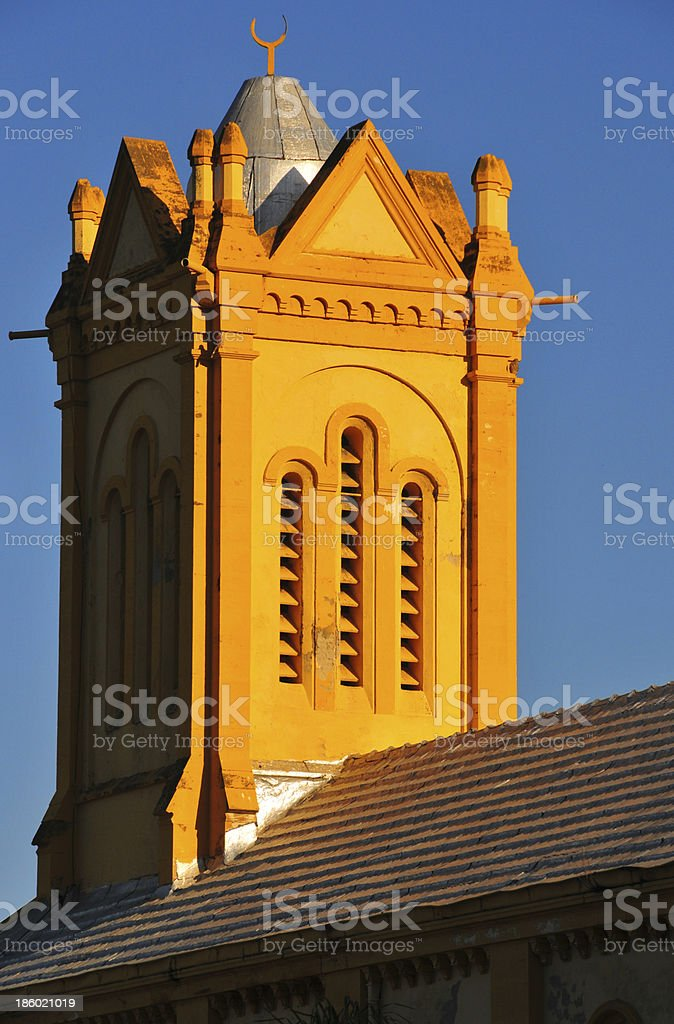 church transformed in a mosque, bell tower with crescent stock photo