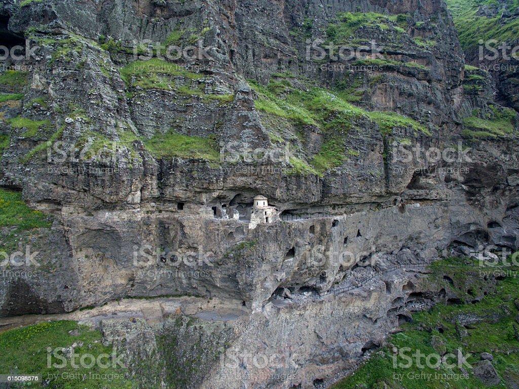 Church Vanis Kvabebi cave complex, built into the rock stock photo