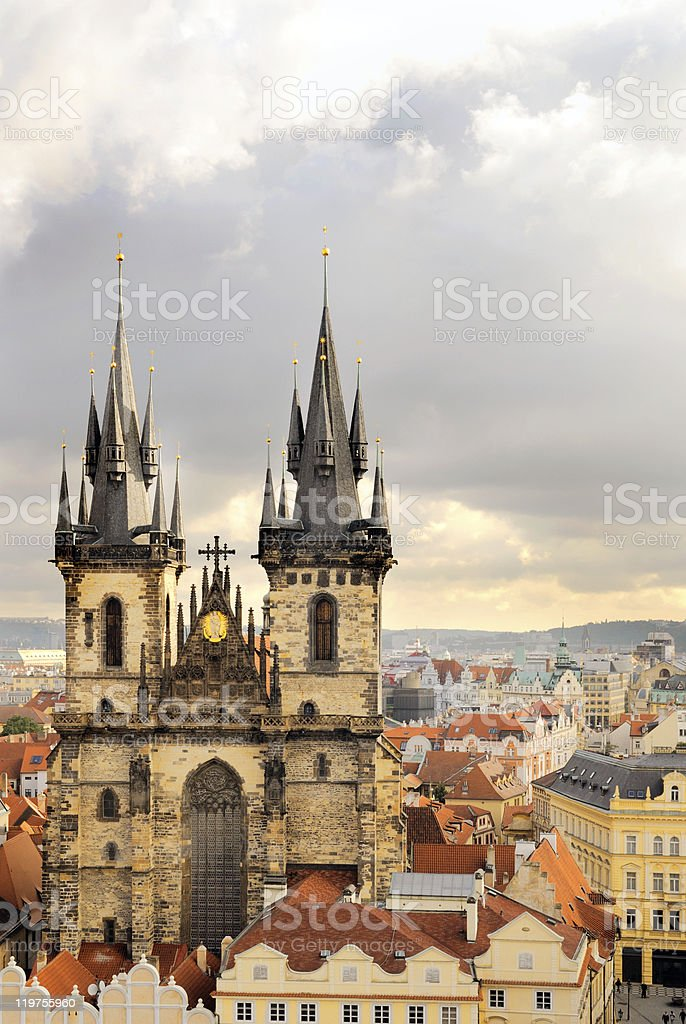 Church Virgin Maria Before Tyn and rooftops of Old Prague stock photo