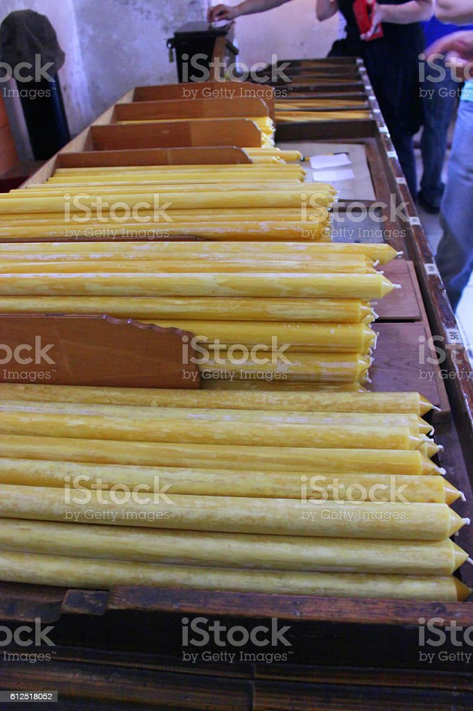 Church wax candles stock photo