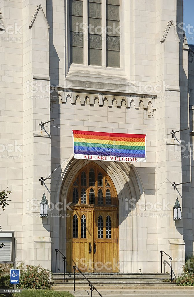 Church welcome sign to gays stock photo