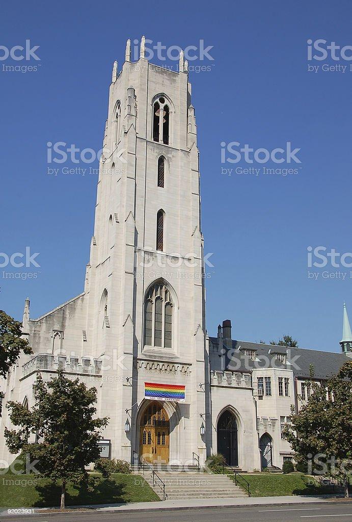 Church welcoming gay members stock photo