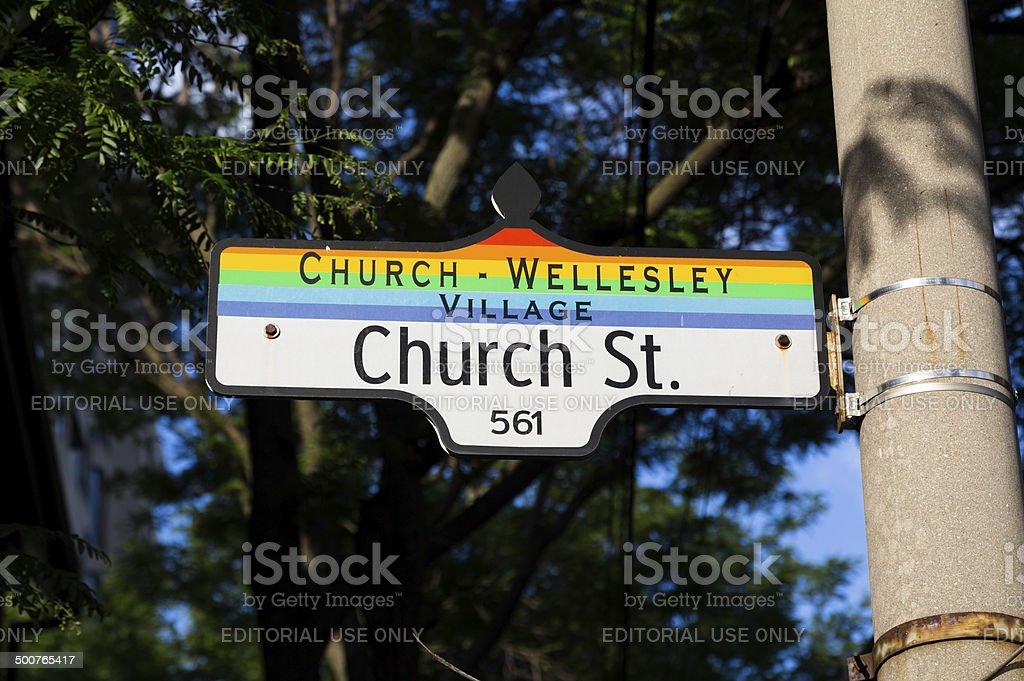 Church Wellesley Village Sign stock photo