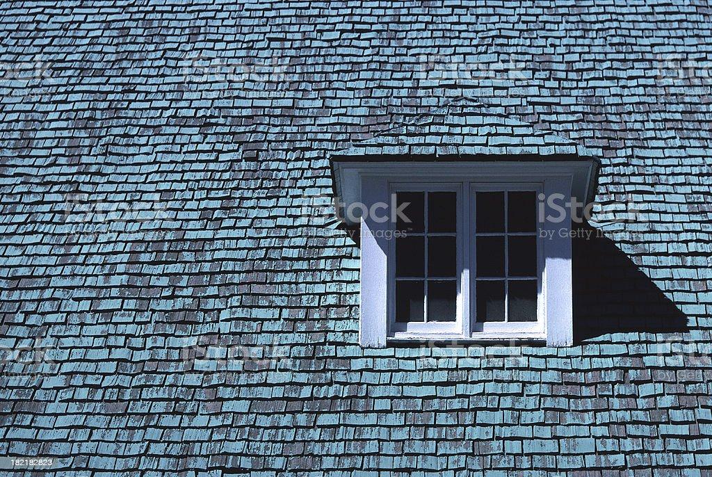 Church Window, Green Roof, Snowflake, Arizona stock photo