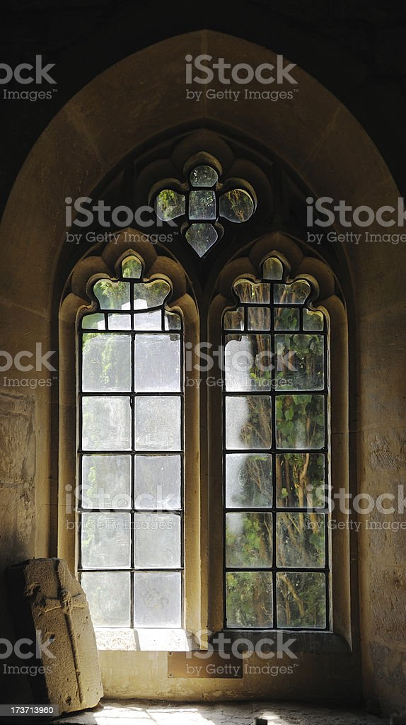 Church Window in Stanway stock photo