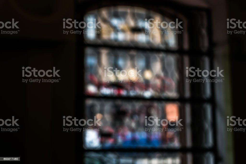 Church window unfocused stock photo