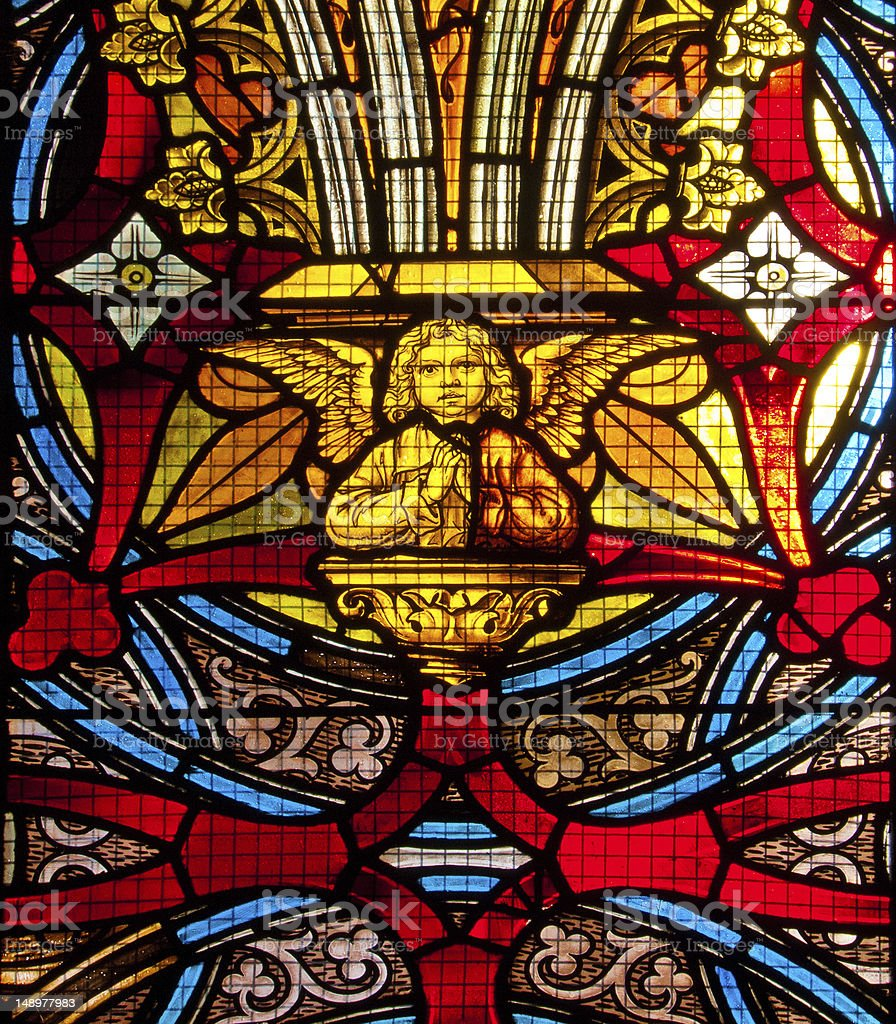Church window with angel stock photo