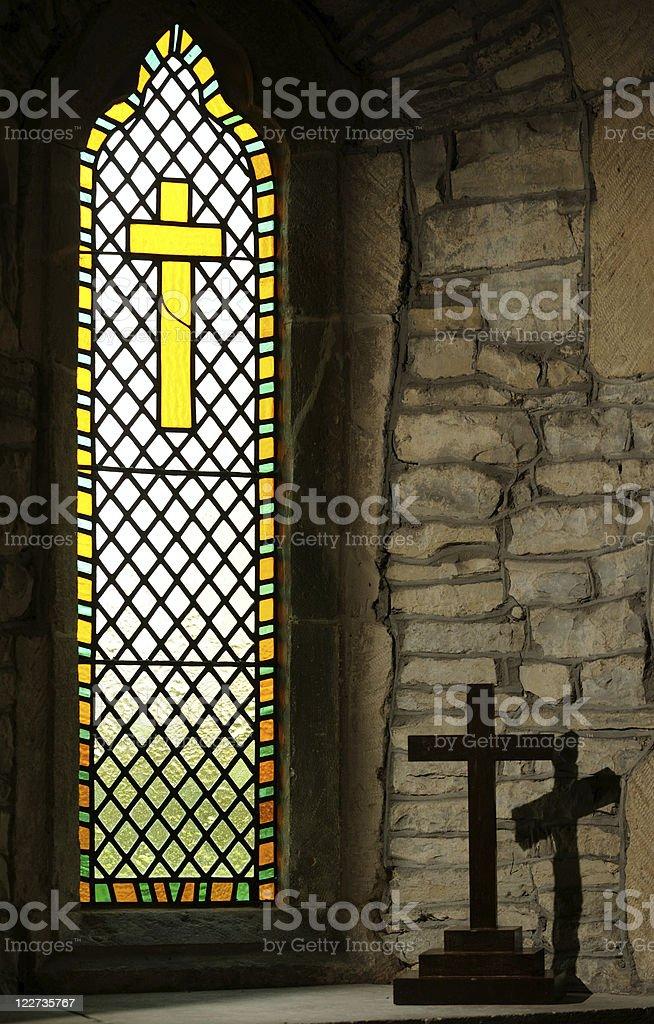 Church Window with Crosses stock photo