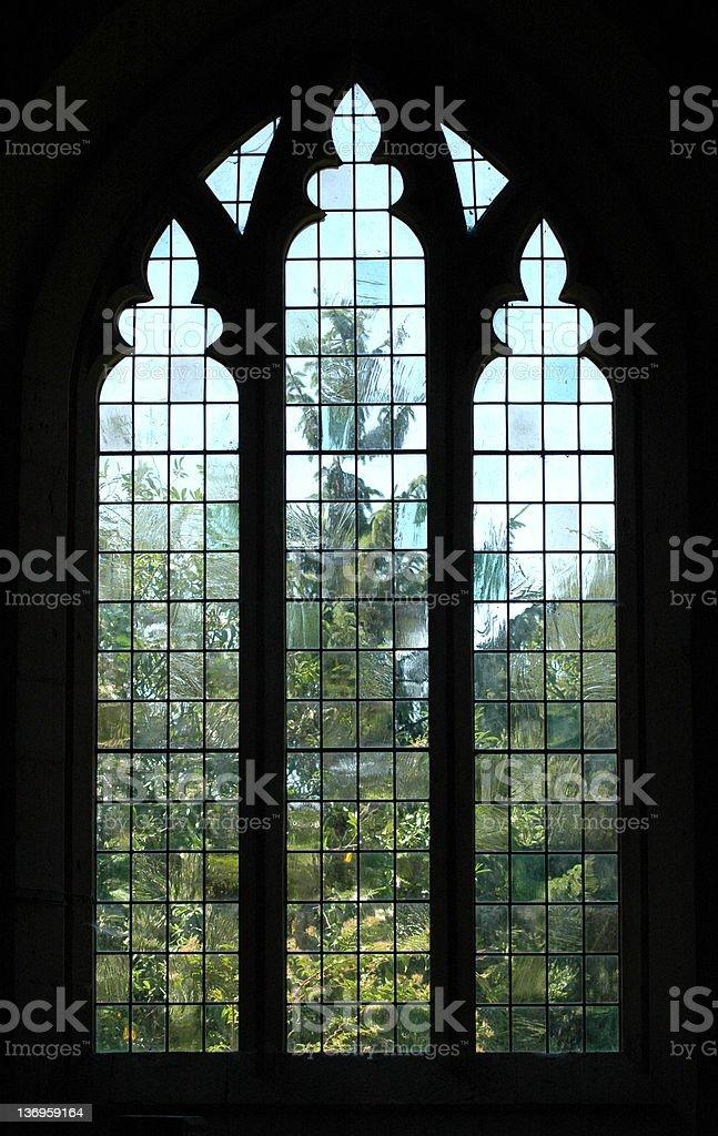 Church Window with Distorted Tree stock photo