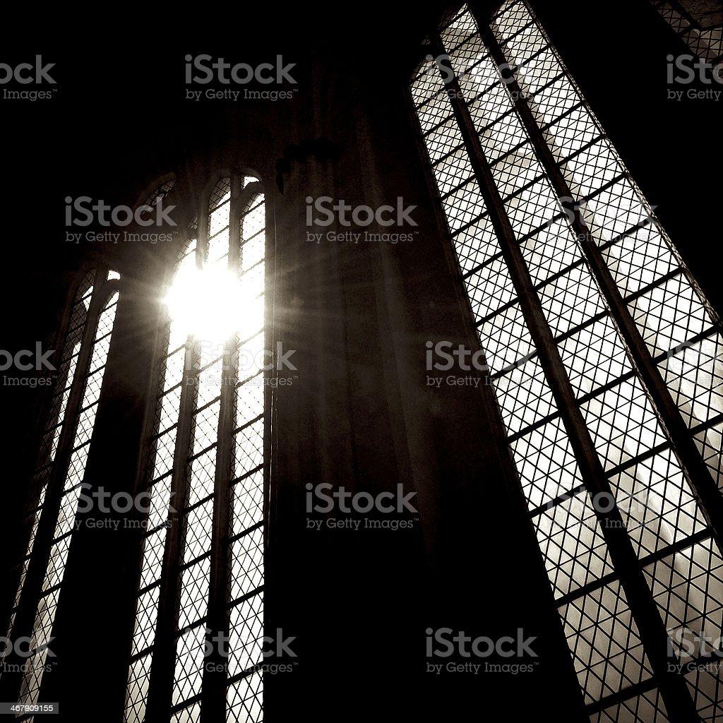 Church window with sunbeam stock photo
