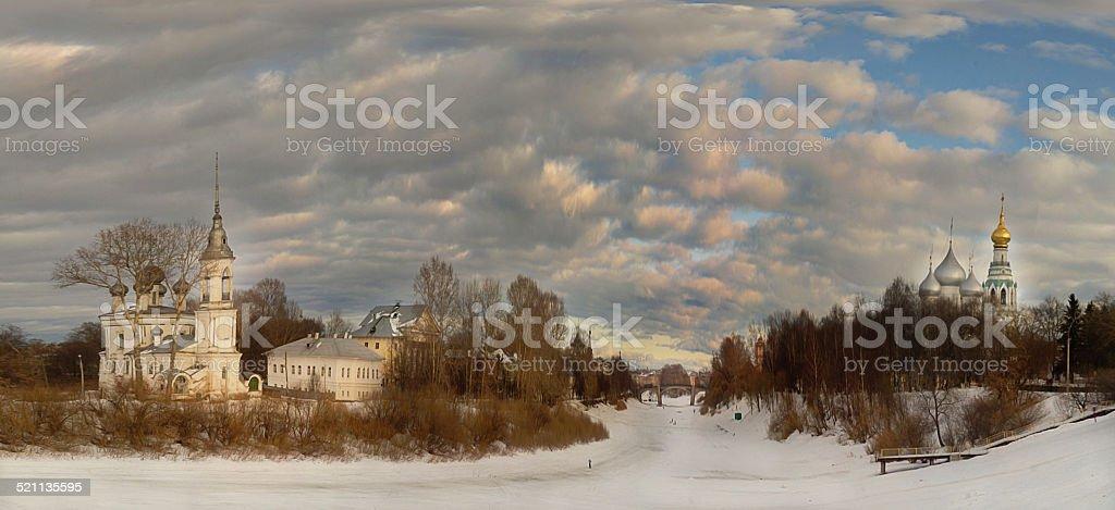 church winter landscape stock photo