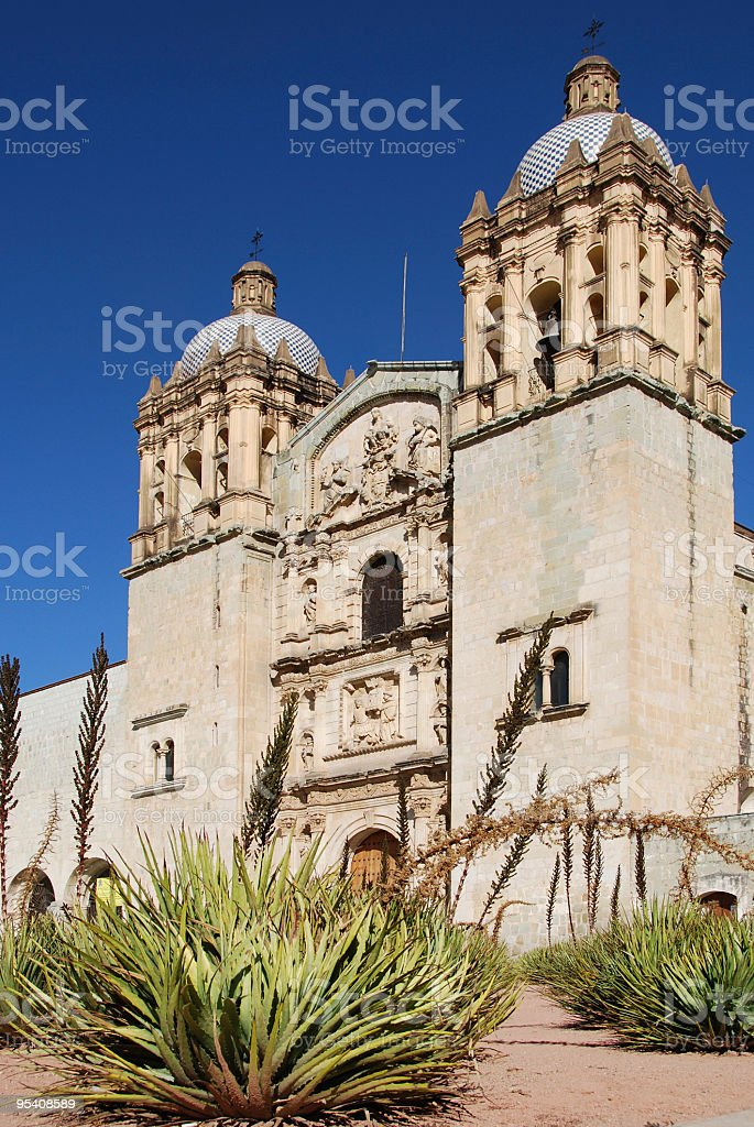 Church with Agaves stock photo