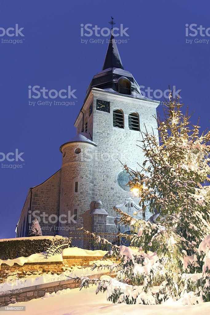 Church with Christmas tree stock photo