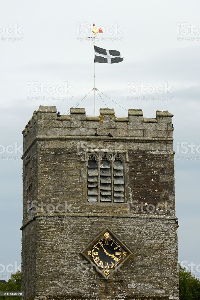 Church with Cornish Flag flying. England stock photo