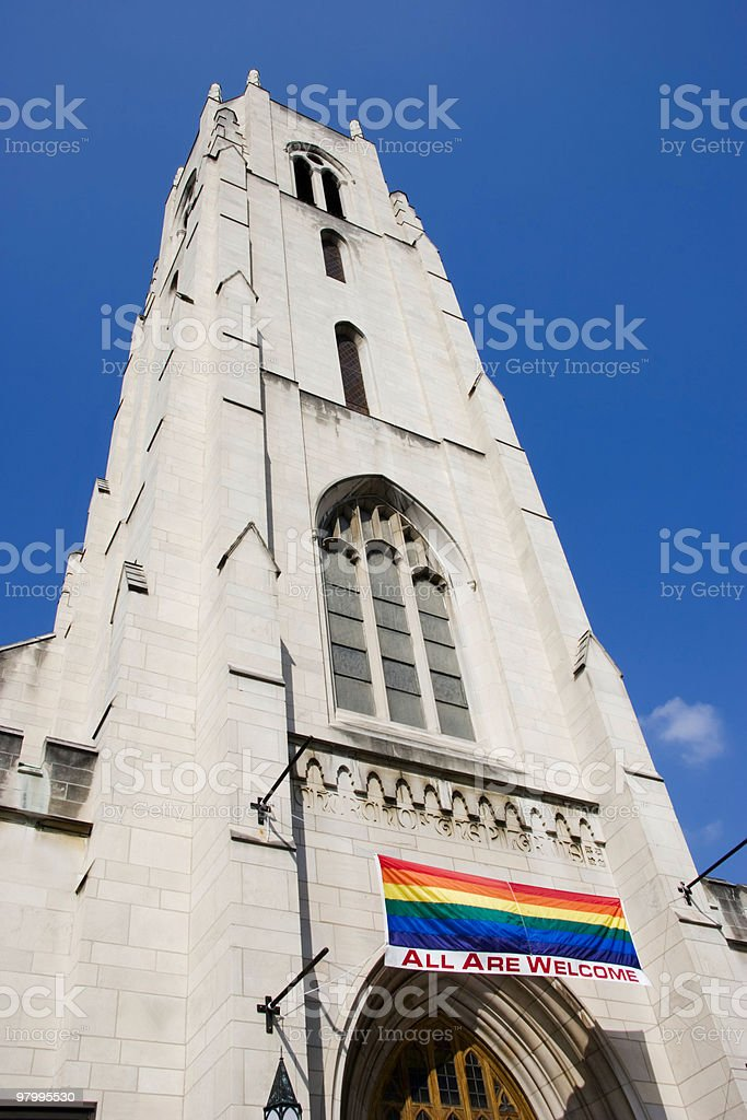 Church With Diversity Banner royalty-free stock photo