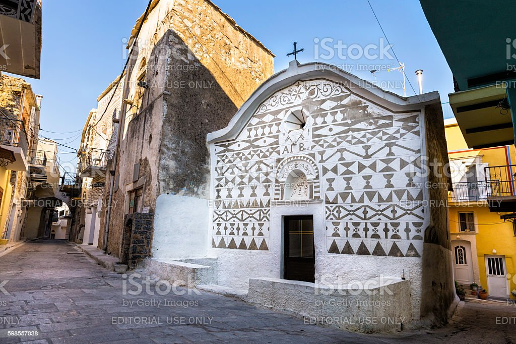 Church with domestic wall carving in the village of Pirgi stock photo