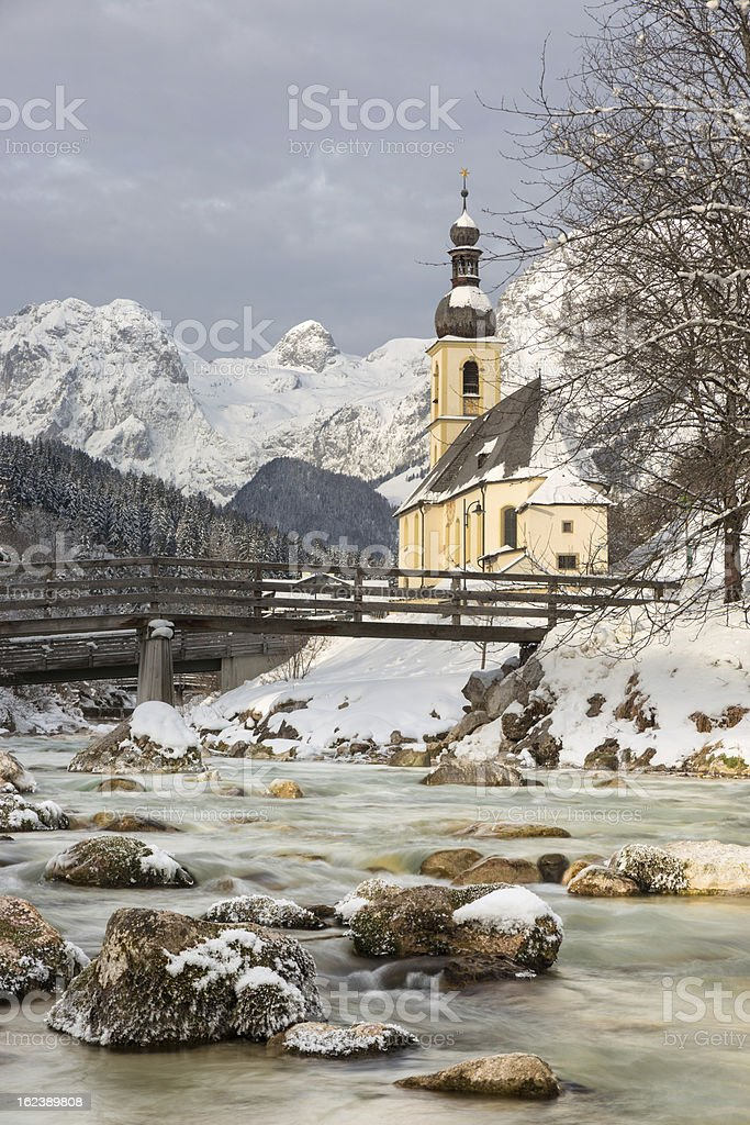 Church with German Alps in Ramsau, Bavaria stock photo