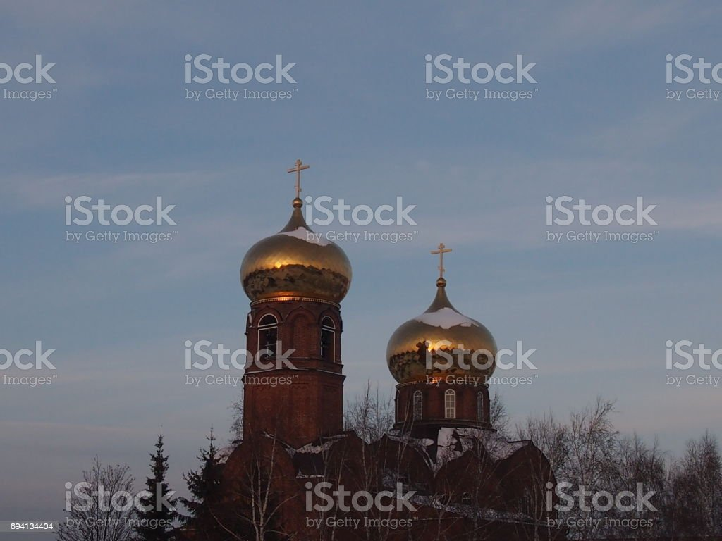 Church with gold domes stock photo