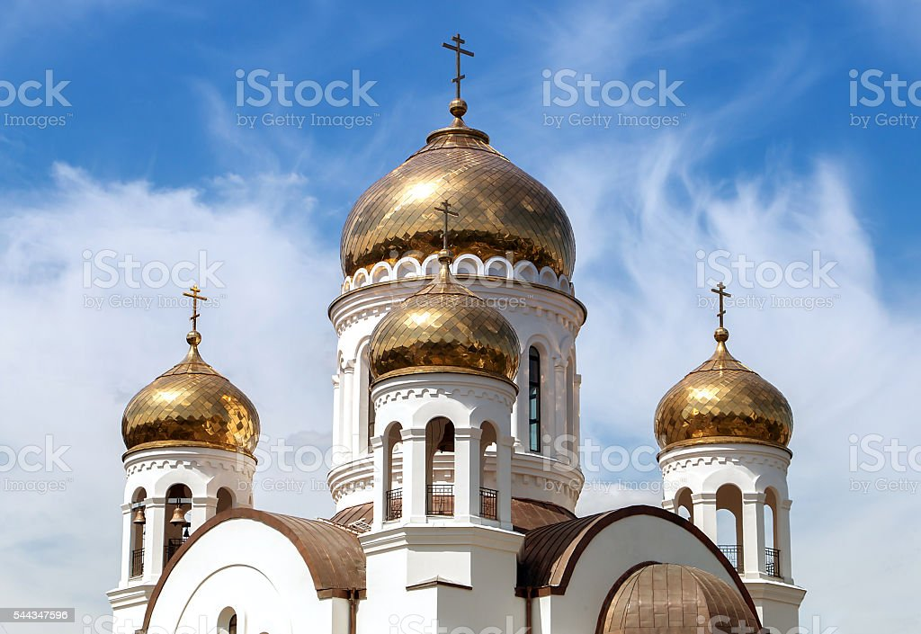 Church with Golden domes stock photo