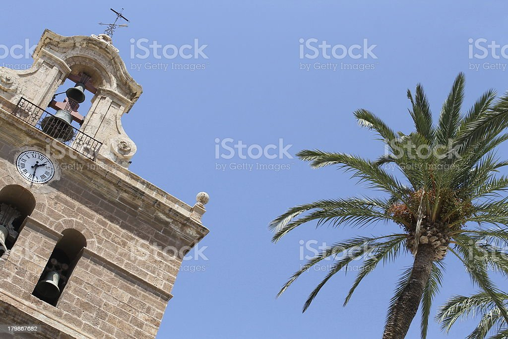 Church with palms stock photo