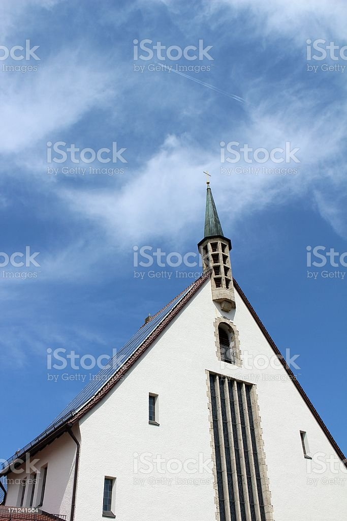 Church with solar panels on the roof royalty-free stock photo