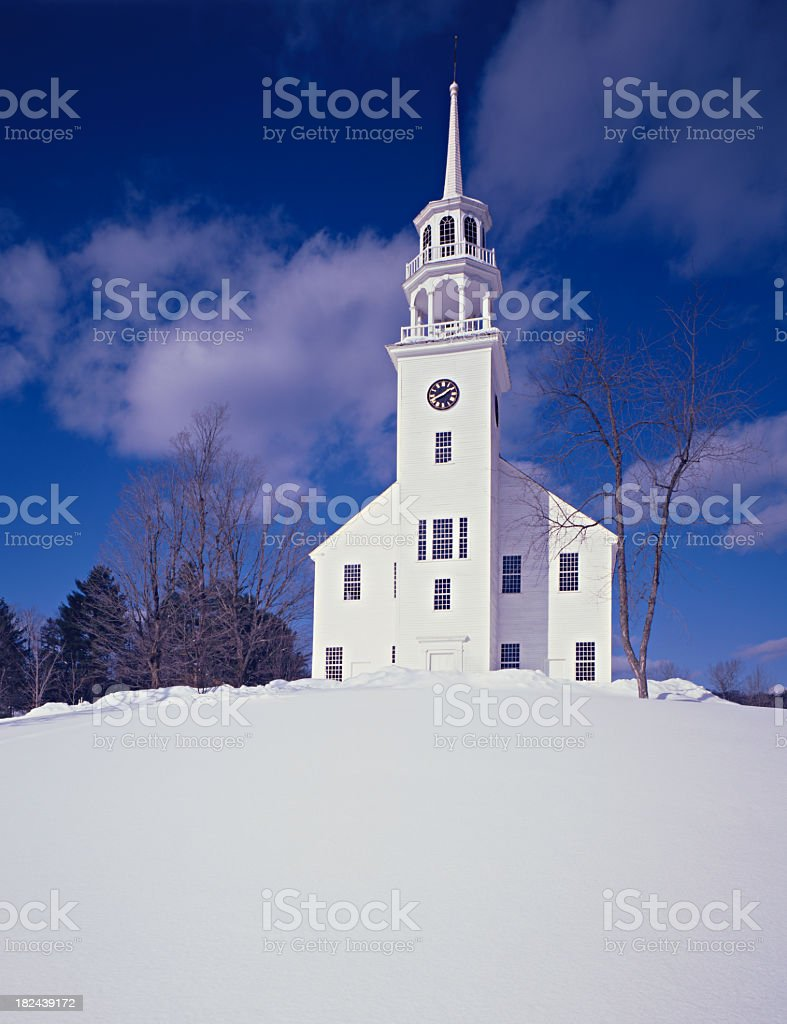 Church with Winter Snow royalty-free stock photo
