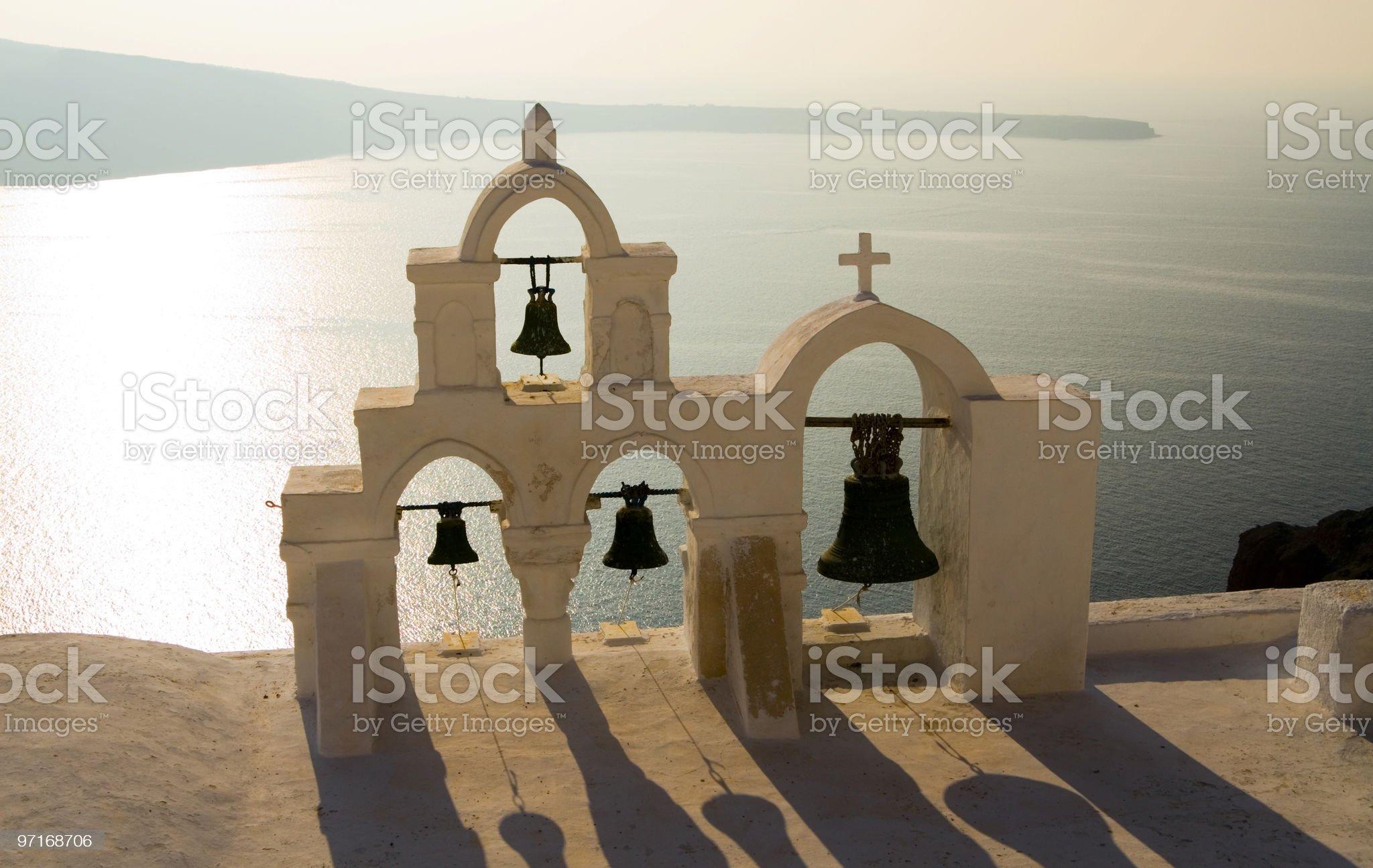 Churchbells in Santorini afternoon sun royalty-free stock photo