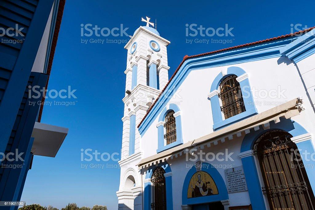 Churche of St. Nicholas on Lake Vistonida in Greece stock photo