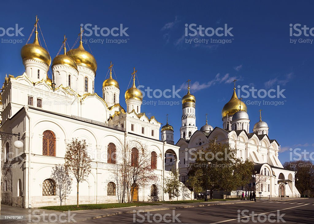Churches at Cathedral Square of Moscow Kremlin stock photo