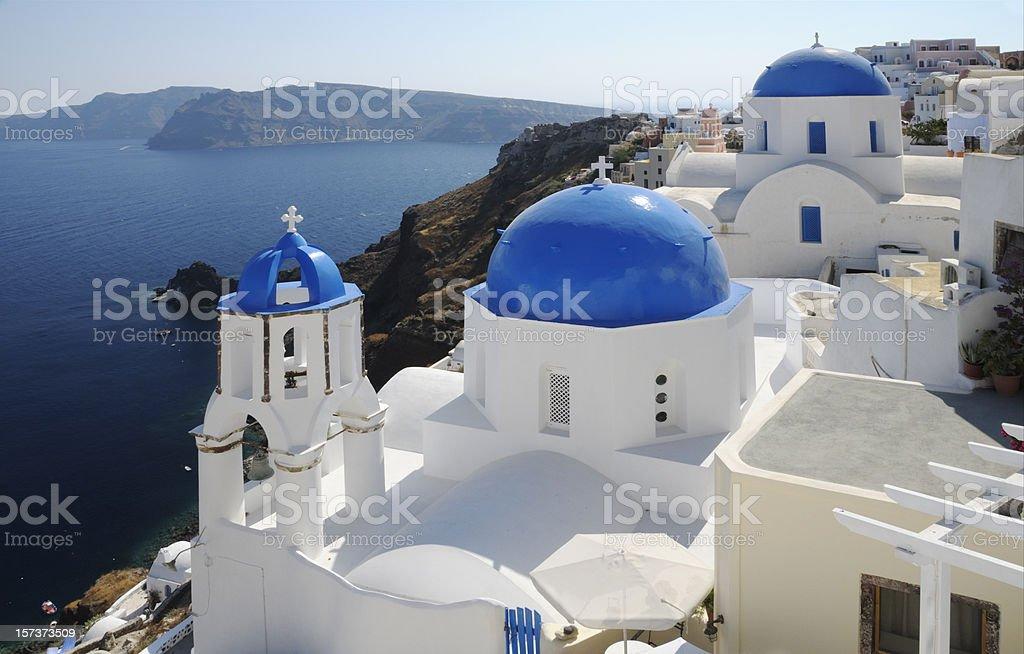 Churches in Oia, Santorini, Greece royalty-free stock photo