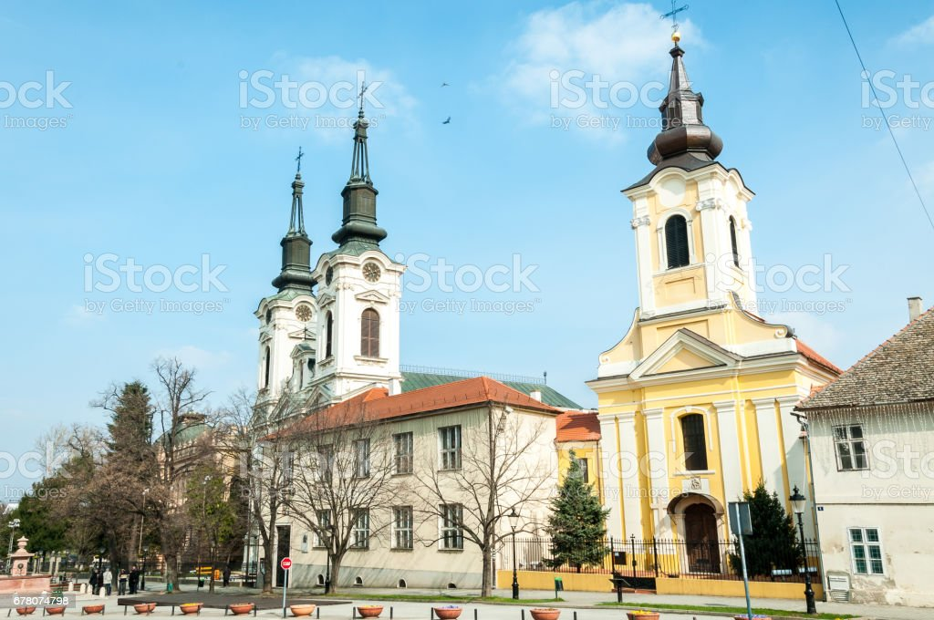 Churches in Sremski Karlovci, Serbia. stock photo