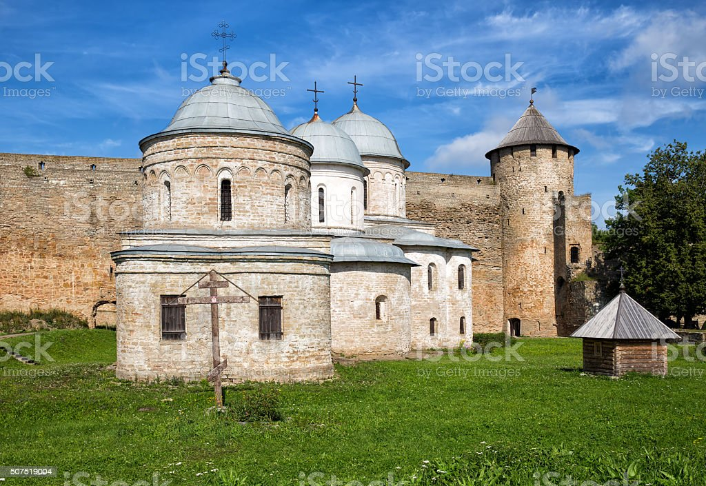 Churches in the fortress Ivangorod, Russia stock photo